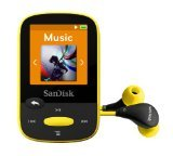 SanDisk Clip Sport 4GB MP3 Player, Yellow With LCD Screen and MicroSDHC Card Slot- SDMX24-004G-G46Y