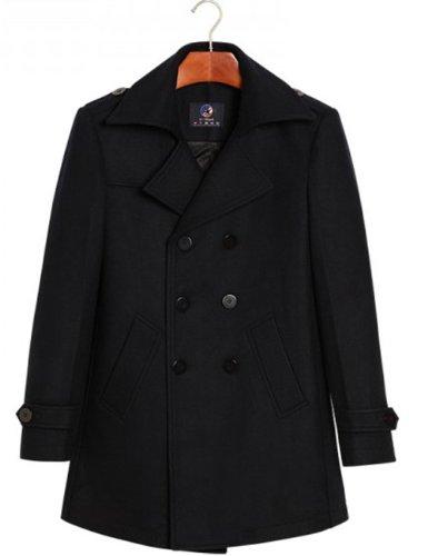 伊焕 优鲨 中老年新年羊毛大衣 时尚翻领双排扣 毛呢大衣 男款中长款 爸爸装呢子大衣 保暖 外套