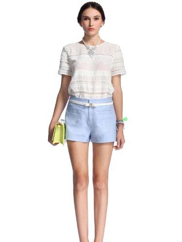 ochirly 欧时力 雪纺蕾丝拼接宽松短袖衬衫 女式 1141013050010