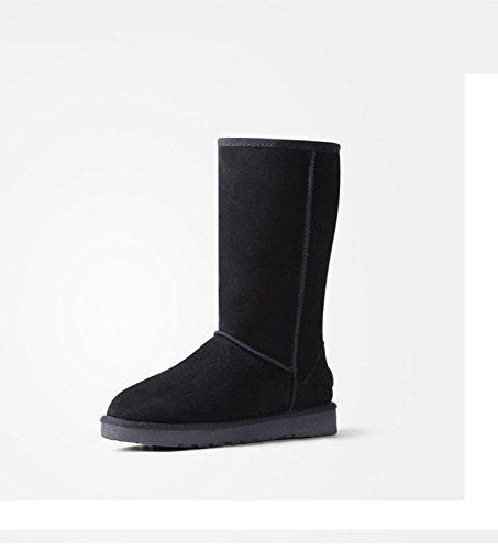 Acesc 艾斯臣 雪地靴 女棉靴牛皮女靴子牛筋底冬靴情侣男女鞋子高筒