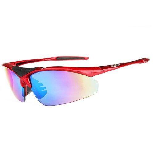 XLHBIKE  0091半框眼镜 骑行眼镜 自行车眼镜 五副镜片 (红色半框)-图片