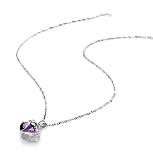 银之源 奥地利紫水晶 心心相映 吊坠 送925纯银项链-图片