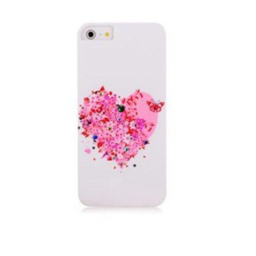 iphone5 美少女水钻手机壳 苹果5贴钻手机壳 外壳 手机套潮 白底爱心