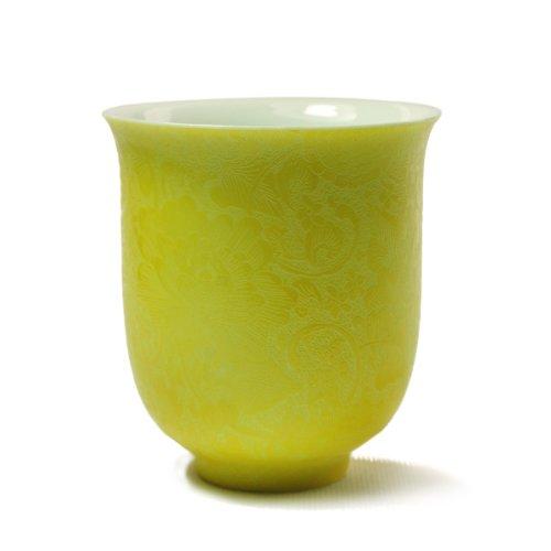 娇黄釉扒花手握杯