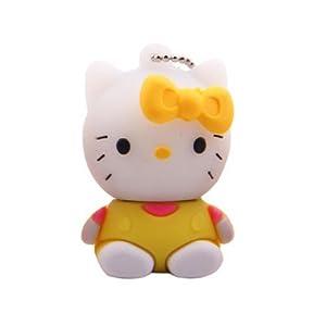 oae 卡通凯蒂猫8gu盘 可爱创意坐姿猫u盘8g优盘迷你 正品 8gb 黄色