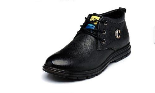 FGN 富贵鸟 富贵鸟冬季棉鞋 高帮商务休闲鞋 真皮皮鞋 英伦保暖男鞋 D384203R 黑色