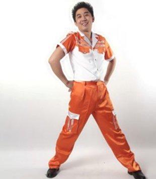 现代舞舞蹈表演服装演出服装矿工舞服装矿工风采连体橘色男橘色