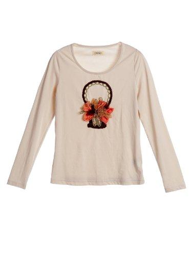 ochirly 欧时力 旗下Five Plus 棉质立体花朵拼贴修身长袖打底T恤 女式 2115020400461