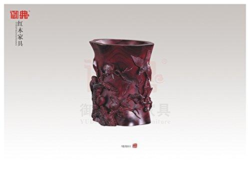 仙游御典红木家具 红木紫檀工艺品 雕刻 丝翎檀雕 浮雕笔筒 红木笔筒