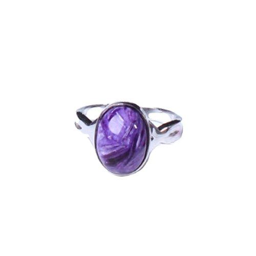 晶隆福 天然紫龙晶椭圆形戒指 款式时尚高雅 颜色亮丽 通透饱满 增添魅力-图片