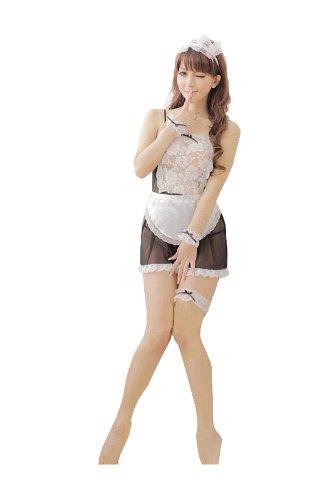 九色生活 蕾丝透明可爱厨娘女仆装 性感睡裙 情趣 内衣制服大码女佣服