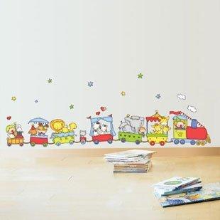 浪漫屋 墙贴 【动物小火车】儿童房背景可爱卡通 幼儿园装饰贴纸 三代