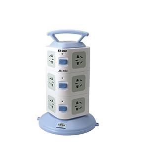金松超功率保护 三位开关 12孔位 JS-603手提式电源插座 立式插线板(线长1.8米) (蓝色)