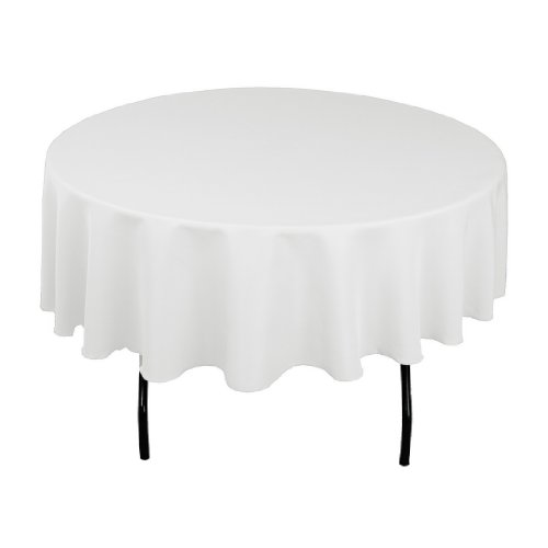 LinenTablecloth 90-Inch Round Polyester Tablecloth White