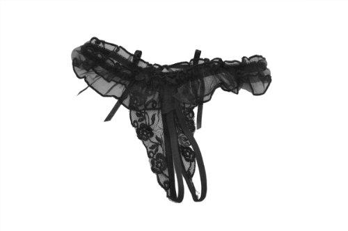 九色生活 情趣内衣 粉嫩时代 性感蕾丝开裆内裤丁字裤 可爱女式透视T裤 黑色