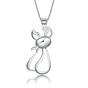 艾得莱德 女款时尚925纯银卡通动物吊坠 q版可爱小猫咪项链项坠