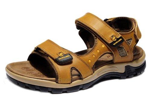 vancamel 西域骆驼 韩版时尚潮流户外凉拖 舒适透气休闲鞋 头层牛皮手工凉鞋 真皮沙滩凉鞋 男鞋