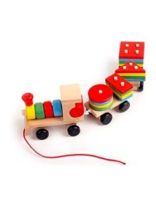 丹妮 木制彩色 开发智力 小火车玩具 儿童节 礼物 cdn