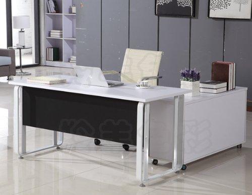6米白色办公桌 时尚简约老板桌 商业办公家具 黑白色 钢木结合 2米主
