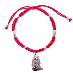 红色年轮 925纯银十二生肖红绳手链 (马生肖)
