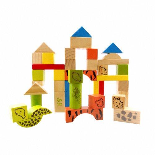 hape 德国38块动物积木 动物木制积木 大块环保积 创意益智玩具