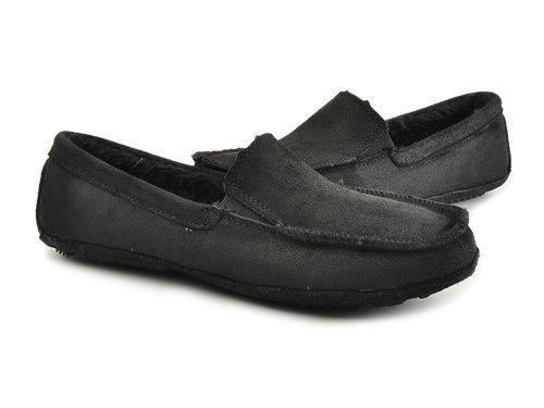 Gonna 高乐 简洁油感牛皮面便捷松紧套脚舒适休闲鞋 男 男帆布鞋 017B-8M black