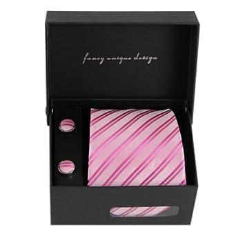 efancy 100%真丝粉色条纹领带 商务休闲男士领带 男正装