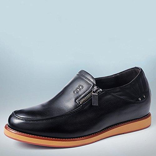 Gog 高哥 增高鞋男式时尚休闲鞋男士隐形内增高男鞋6cm拉链皮鞋秋季款