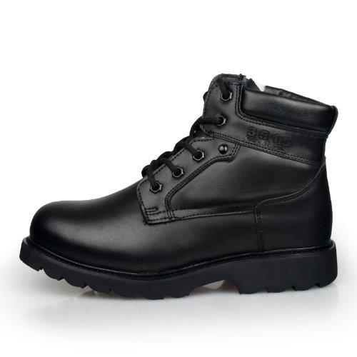 强人 3515冬季新款正品男靴真皮羊毛短筒保暖棉靴圆头潮流军户外靴
