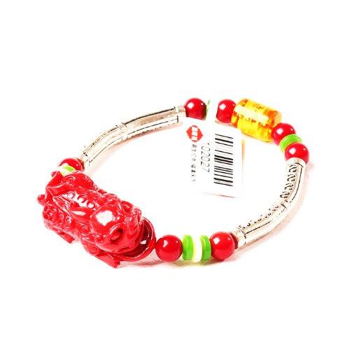 晶隆福 红珊瑚貔貅藏银手链 款式独特 招财辟邪护身-图片