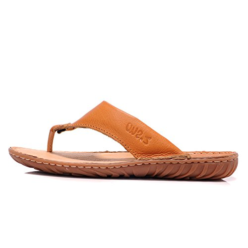 走索 舒适柔软耐磨时尚休闲鞋潮男士人字拖鞋夹脚鞋牛皮拖鞋沙滩鞋男士凉拖鞋