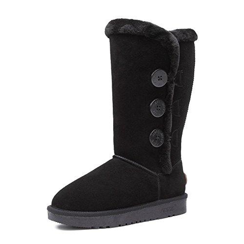 Acesc 艾斯臣 冬季真皮雪地靴 女 高筒加厚磨砂皮加绒防滑平底保暖棉靴