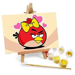 自油自画 数字油画diy手绘动漫卡通儿童油画 愤怒的小鸟2 10*15