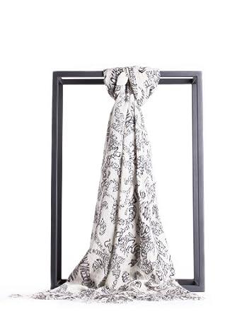 Quince 美思 AUSTRALIA ICON系列 奢华毛绒几何图案围巾披肩 白底黑