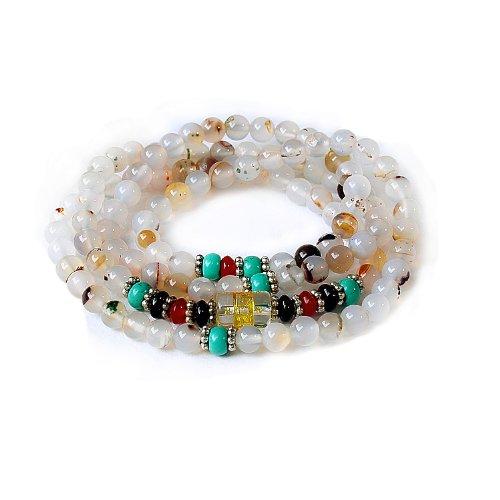 晶隆福 天然玛瑙佛珠手链 108颗 款式时尚 增添魅力 招财辟邪 助事业-图片