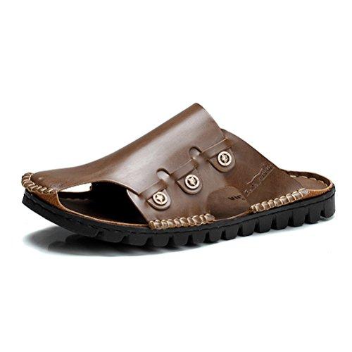GNSJ 公牛世家 2015夏季包头拖鞋 男真皮凉鞋防滑沙滩凉拖鞋 英伦潮流半拖男鞋