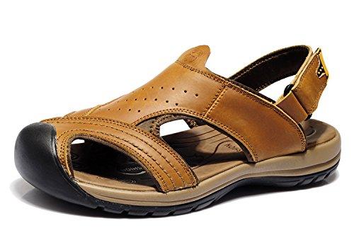 van camel 西域骆驼 韩版时尚男凉鞋 男士真皮凉鞋 头层牛皮凉鞋子 沙滩鞋 运动沙滩鞋 防撞包头设计 男鞋子