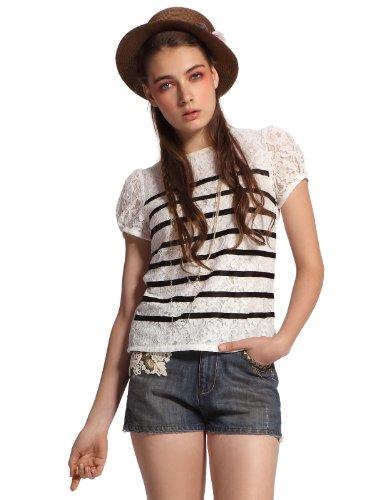 ochirly 欧时力 复古摩登蕾丝圆领短袖T恤 女式 1112011380000