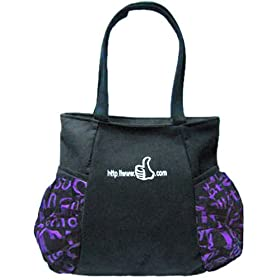 M.F美妨时尚休闲女士布包 单肩包 大拇指 紫色字母