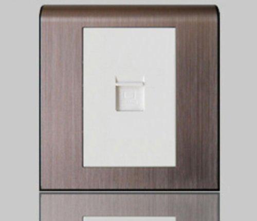 tcl 罗格朗 开关面板插座k5系列/玫瑰金边框 白芯 网络电脑插图片