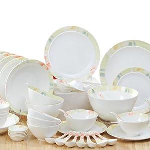 huaguang ceramics华光陶瓷庭院花香56头礼盒餐具套装图片