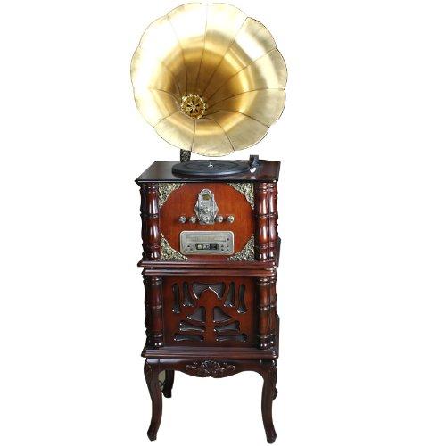 Snowwolf 豪华实木复古留声机 铜喇叭黑胶唱片机 重低音仿古唱片机 摆件 ZY-图片