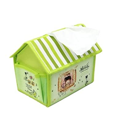 家居伴侣 糖果屋纸巾盒 可爱小房子纸巾盒抽储物盒纸巾桶 绿色