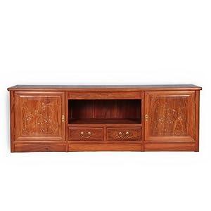 龙上龙 红木家具 实木电视柜组合 非洲花梨木地柜 东阳仿古客厅柜 (长