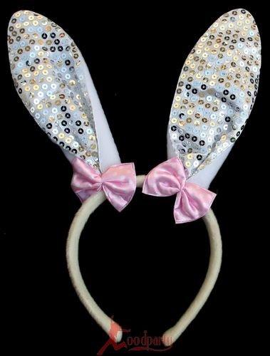 快乐派对 表演动物头饰 小兔子耳朵 头箍发箍 亮片兔子发卡 银色