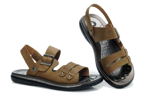 Guciheaven 英伦风时尚型男最爱 韩版夏季休闲沙滩鞋 头层小牛皮金属扣凉鞋 男凉拖