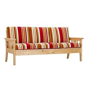 b 喜梦宝实木家具 简约现代松木沙发/三人实木沙发 (含布套)ss53000