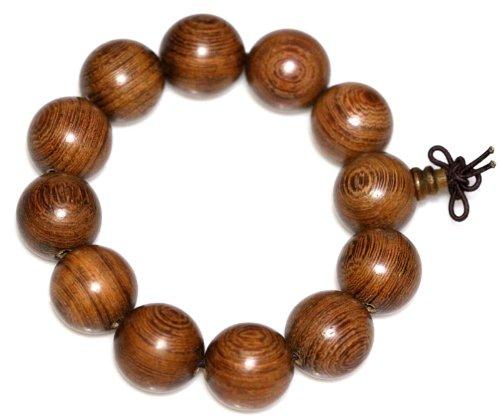养生按摩精美檀香木佛珠手串 靓丽木纹 单珠直径18mm 平安佛珠手链