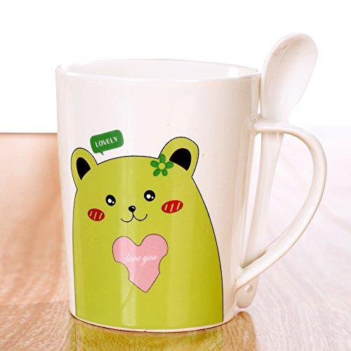 ijarl 亿嘉 快乐小动物 带勺杯 绿色爱心熊 f595mx008