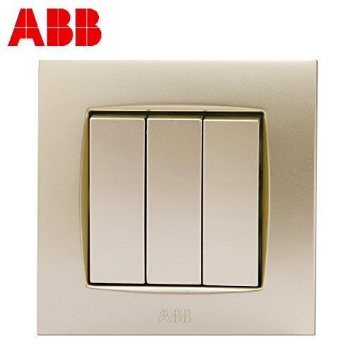 abb 开关插座开关面板钢框由艺珍珠金色系列三开双控au107-pg